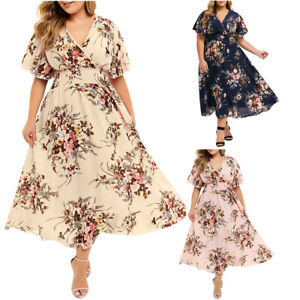 Plus-Size-Fashion-Women-Lady-Floral-Print-V-Neck-Short-Sleeve-Casual-Long-Dress