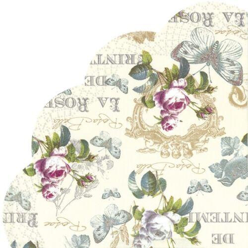 """12 serviettes /""""rose de printemps/"""" 33x33 serviettentechnick vintage fleurs ᴓ 34"""
