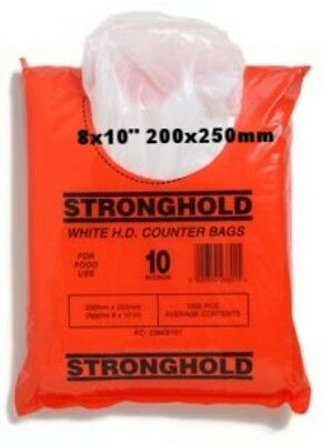 Stronghold White Poly Counter Bags 8x10-1000//Bag