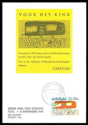 Gelernt Niederlande Mk 1976 Kinderzeichnungen Caravan Maximumkarte Maximum Card Mc Bb78