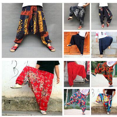 Uomo Boho Stile Giapponese Harem Largo Biancheria Cotone Larga Moda Pantaloni
