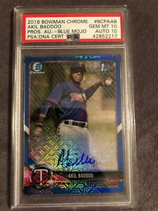 2018 Bowman Chrome Akil Baddoo Minnesota Blue MOJO Ref Auto PSA/DNA 10/10💎POP 1