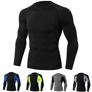 Men-039-s-Athletic-Compression-Tops-Sport-Gym-Running-Long-Sleeve-T-Shirt-Cool-Dry