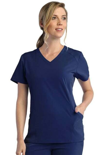 Maevn Women Scrub Top 1626 Core 3 Pocket Curved V-Neck Sizes XXS to 2XL
