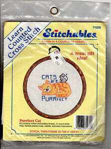1992-Dimensions-Stitchables-Counted-Cross-Stitch-Kit-71039-Purrfect-Cat