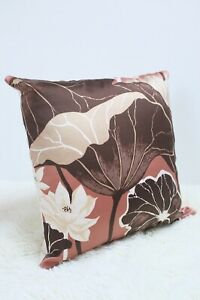 "Original Retro Sanderson Fabric Cushion Cover 60s/70s 18x18"" Vintage Brown"