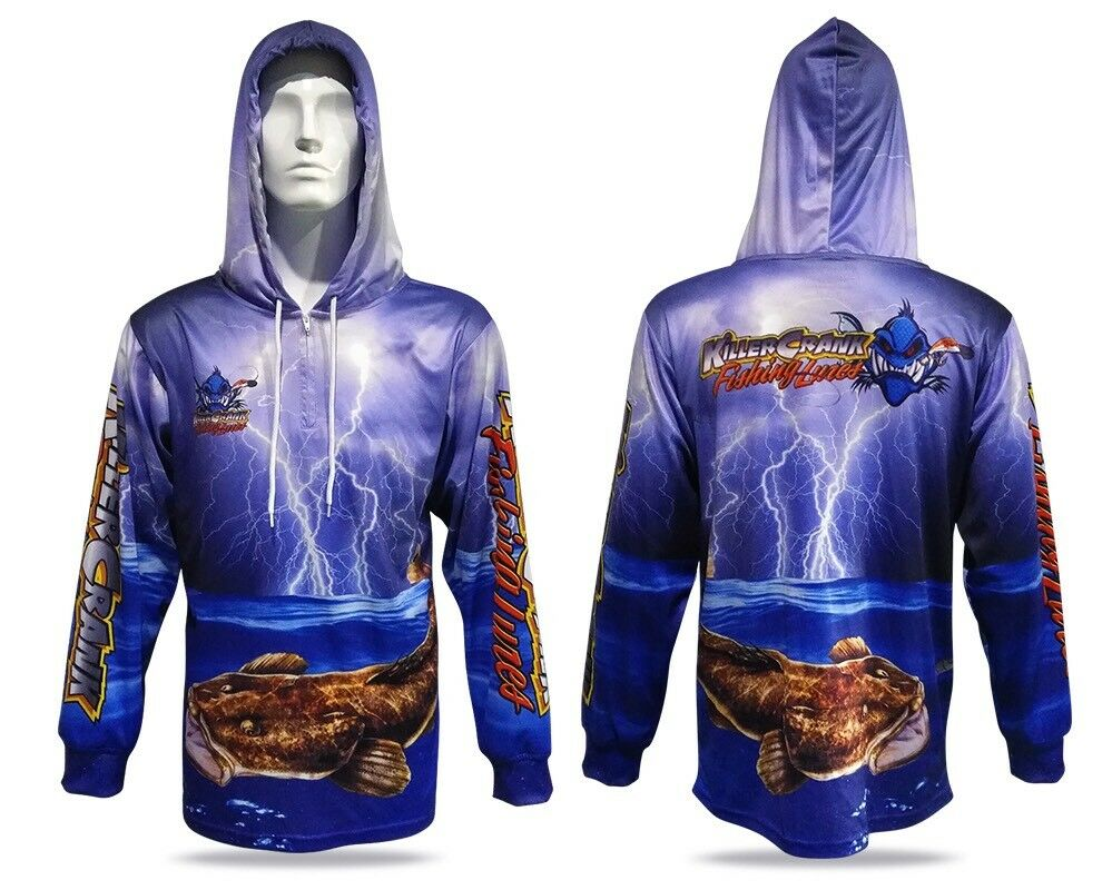 New Killer Crank Tournament Fishing Shirt With Hood. All Mens Sizes +Kids 6 & 12