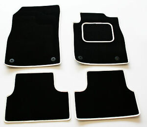 Perfect Fit Black Carpet Car Mats for Ford Cortina mk 4 76-79 - White Leather Tr