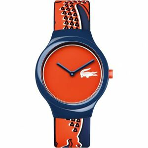 Lacoste-2020113-Unisex-Goa-Silicone-Blue-Strap-Orange-Red-Dial-Watch-RRP-50