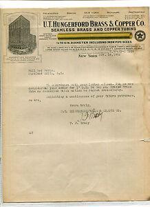 Vintage Illustrated Letterhead UT HUNGERFORD BRASS & COOPER TUBING 1923 NY price