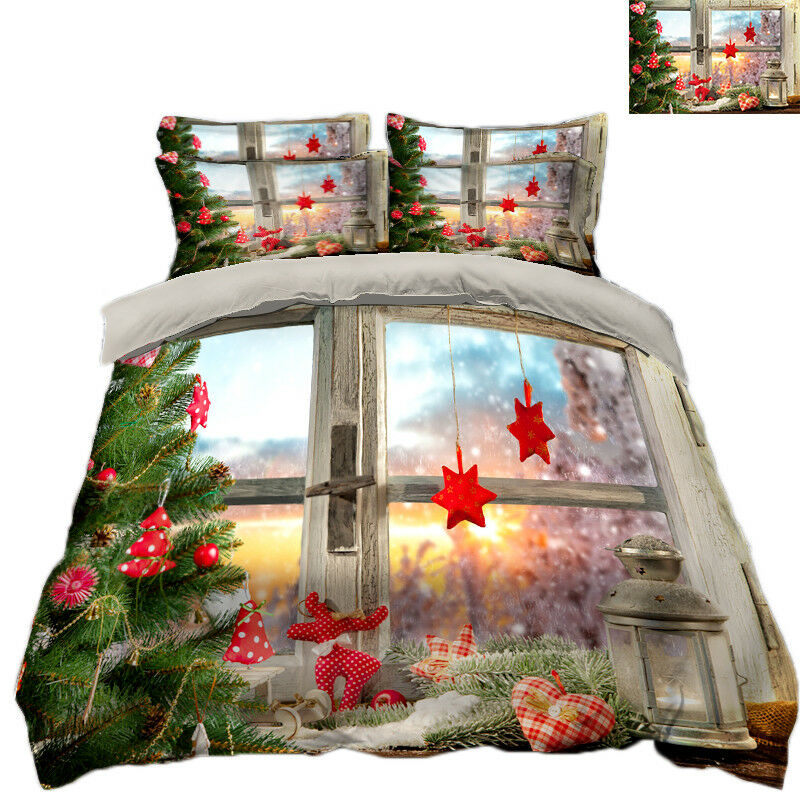 3D Christmas Xmas Window 9 Bed Pillowcases Quilt Duvet Cover Set Single Queen UK