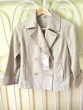 BNWT Uniqlo Women Linen Cotton Blazer 3/4 Sleeves Pea Jacket Coat XS RRP£39.99
