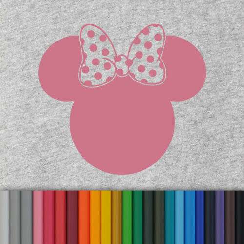 "Minnie Mouse shape Disney Solid Plain Hot Fix shirt  Iron On Transfer 6/"" Mickey"