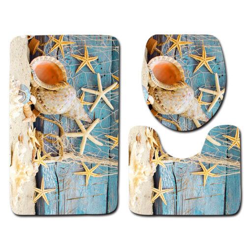 3pcs Bath Mat Set Beach Starfish Decoration Shells Pebbles Pattern Bathroom Rug