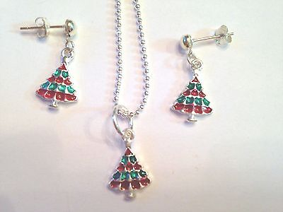 Fashion Jewelry Colorful Christmas Tree Pendant 18 Inch Chain & Earrings In Silverplate & Enamel Firm In Structure Jewelry Sets