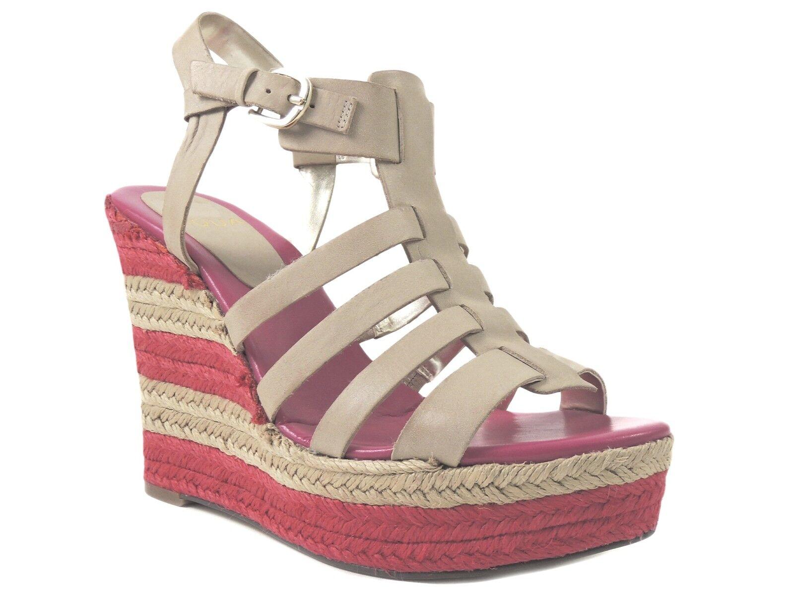 Aqua Women's Dehli Caged Espadrille Sandals Natural Pink Leather Size 9 M