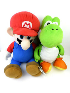 """22"""" Mario + 17"""" Yoshi Plush Toys USED Condition Issues (READ & SEE PHOTOS)"""