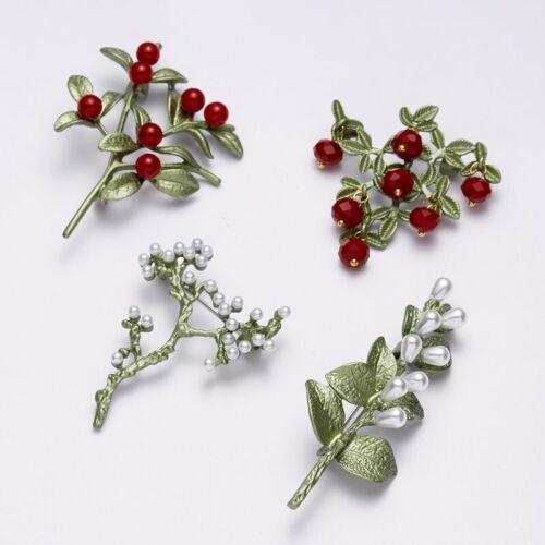 Fashion Crystal Pearl Plant Broche Pin Mince Vert Femmes strass Bijoux Cadeaux