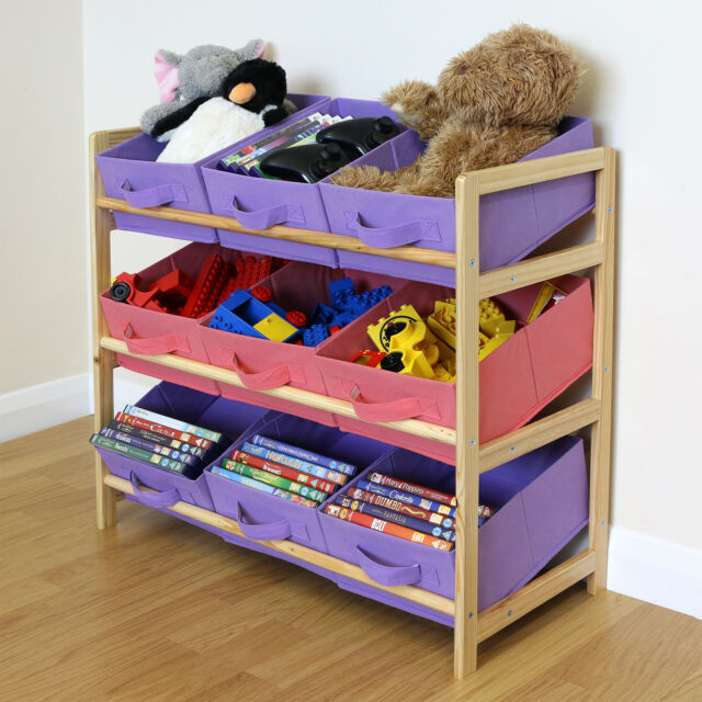 Attirant Purple U0026 Pink 3 Tier Wood Toy Unit 9 Canvas Boxes/Drawers Kids/Childrens