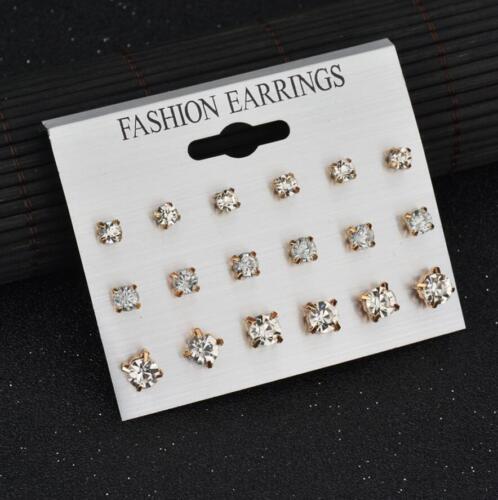 6//7//9//12 Paires//Set Femmes Strass Cristal Perle Boucles d/'oreilles Set Ear Stud Bijoux
