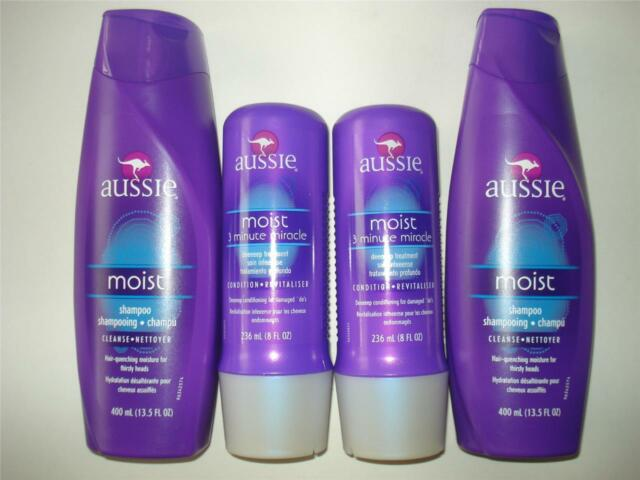 AUSSIE ~ Shampoo & Conditioner ~ 3-Minute Miracle & MOIST Hair 4 New Bottles