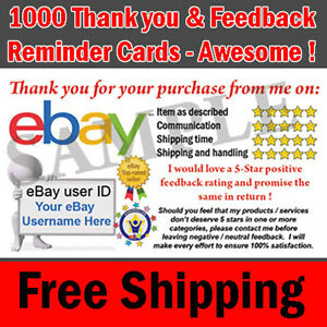 Image Is Loading 1000 Ebay Er Professional Thank You Business Cards