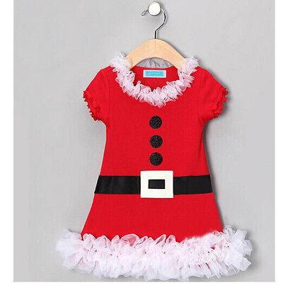Christmas Santa Claus Baby Kids Girls Flower Lace Belt Flounced Skirt Dress RED
