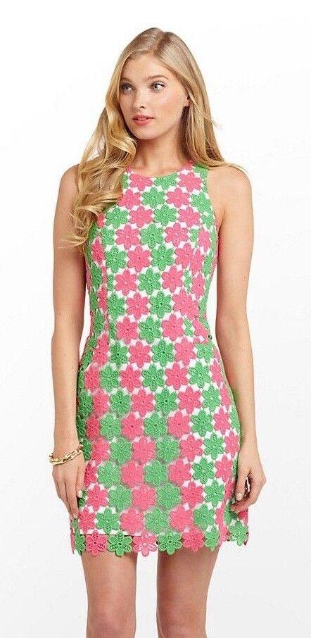 348 Lilly Pulitzer Perla Nuevo verde Dos Tonos Pétalo Encaje Vestido de cambio verdaderamente  tienda en linea