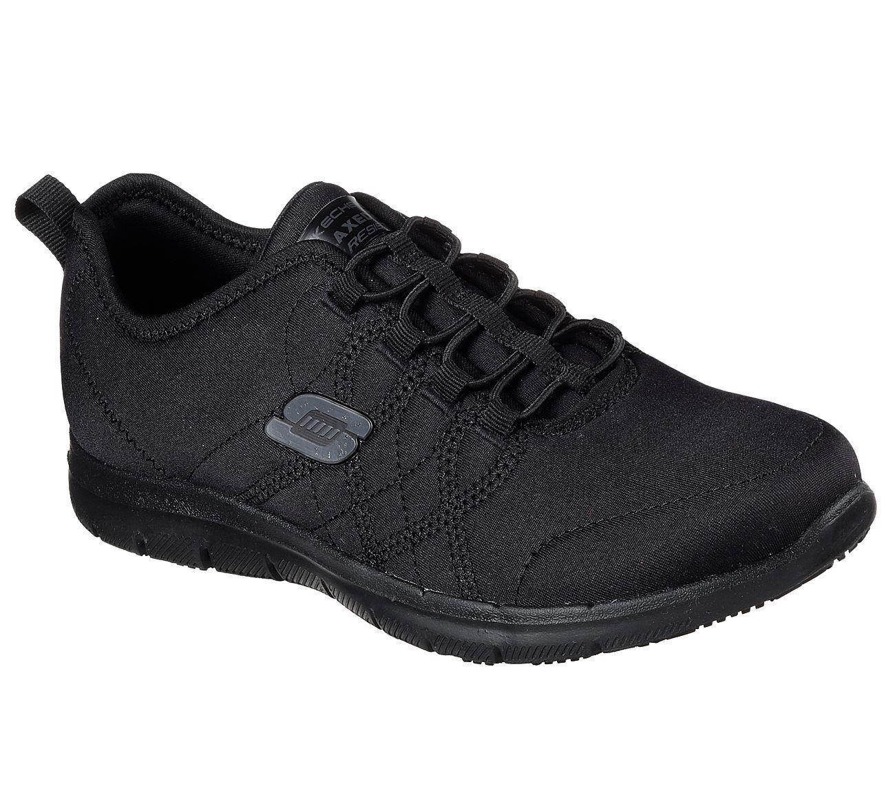 Black Skechers Shoes Women Memory Foam Work Slip Resistant Comfort Jersey