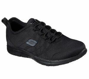 Slip-Resistant-Work-Black-Skechers-77211-Shoes-Women-Memory-Foam-Comfort-Jersey