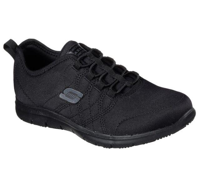 743918198a1e5 Slip Resistant Work Black Skechers 77211 Shoes Women Memory Foam Comfort  Jersey