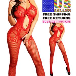 Women-Body-Stocking-Sexy-Lingerie-Nightwear-Sleepwear-Bodysuit-Fishnet-Babydoll
