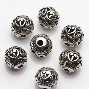 New-10-20Pcs-Tibetan-Silver-Hollow-Heart-Spacer-Beads-Jewelry-Finding-Craft-8mm