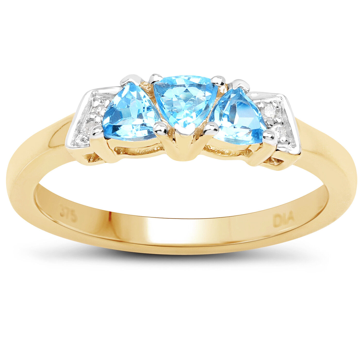 9ct gold blueee Topaz & Diamond Engagement Ring, ring Size H,I,J,K,L,M,N,O,P,Q,R,S