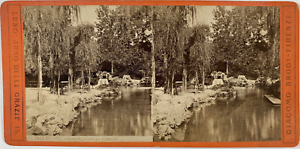 Brogi, Stéréo, Italie, Milano, veduta del giardino pubblico Vintage stereo card,