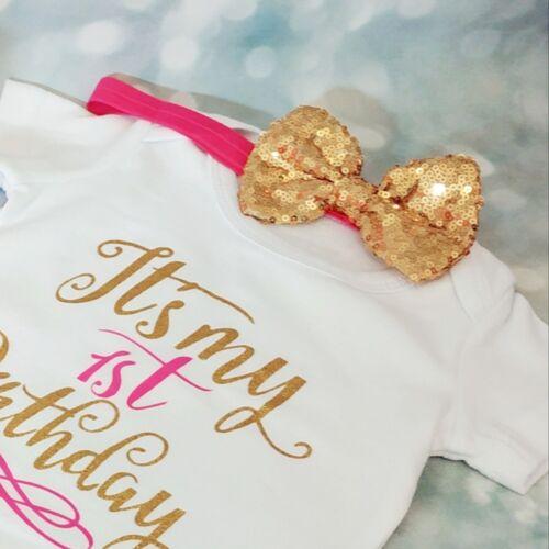 Baby Girl First 1st Anniversaire Tenue tutu Cake Smash séance photo Fête Bandeau
