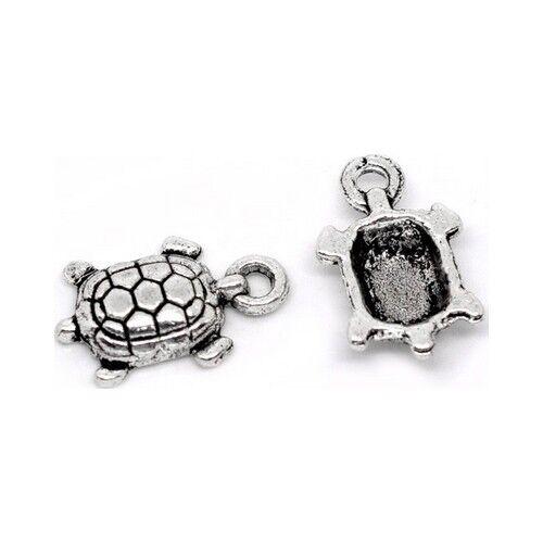 Breloques /_ PETITE TORTUE argentée 15X9mm /_ Perles charms création bijoux /_ B079