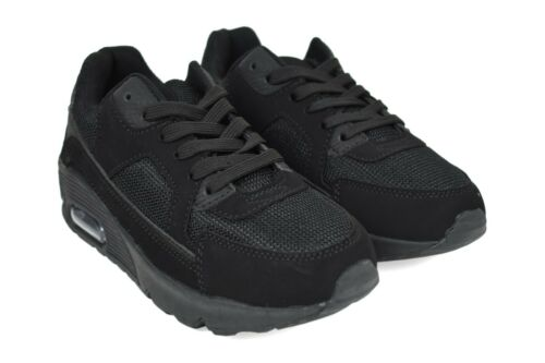 Boys Lace Up Black Casual Light Weight  New Pumps Kids Trainer UK Size 1-6