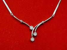 "Natural Real Diamond Flower Cluster ""V"" Frontal Necklace Solid 10k White Gold"