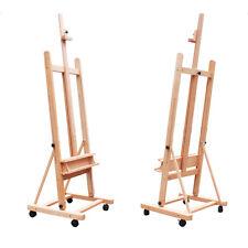 Adjustable Wood Studio Painting & Display Easel 360-Degree Wheels Red Beech