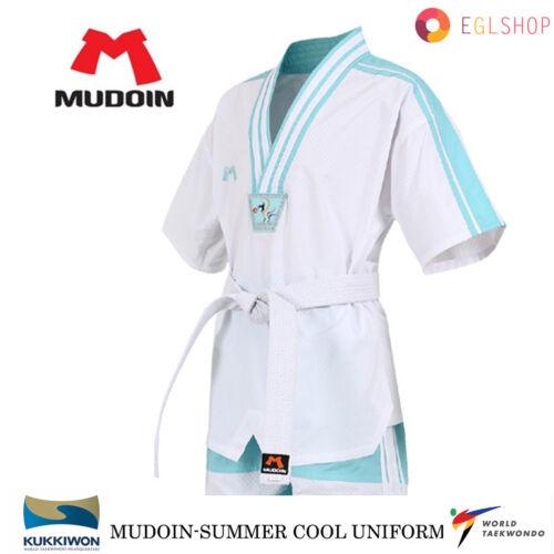 MUDOIN Cool Summer Mesh Taekwondo Uniform WTF Poom Mint Dobok TKD Martial Arts