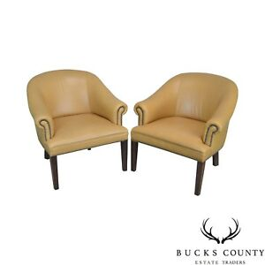 Pleasing Details About Tan Leather Pair Of Barrel Back Club Chairs Machost Co Dining Chair Design Ideas Machostcouk