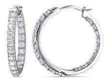 Created White Sapphire 3.60 Carat (ctw) Hoop Earrings in Sterling Silver