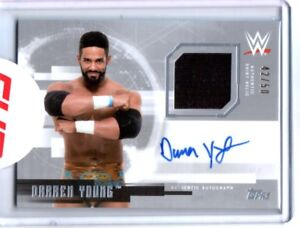 WWE-Darren-Young-2017-Topps-Undisputed-Silver-Autograph-Relic-Card-SN-42-of-50