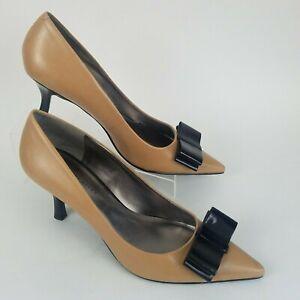 Calvin Klein Beige Patent Leather Chunky Heel Platform