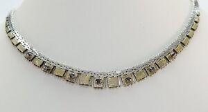 Vintage-Damen-Collier-835er-Silber-amp-vergoldetes-Silber-Bicolor-mit-Turmalin
