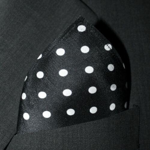 "Full-Sized 16/""x16/"" Black Polka Dot Silk Pocket Square by ROYAL SILK®"