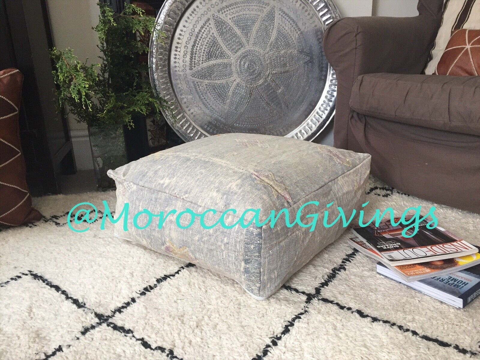 Floor Cushion   Vintage MGoldccan Pouffe made of Sabra  Rug      Pillow   Stuffed