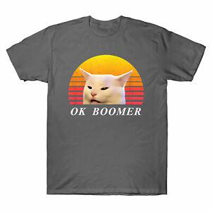 Yelling At Table Dinner OK Boomer Men's T-Shirt Funny Meme Cat Lover Gift Tee