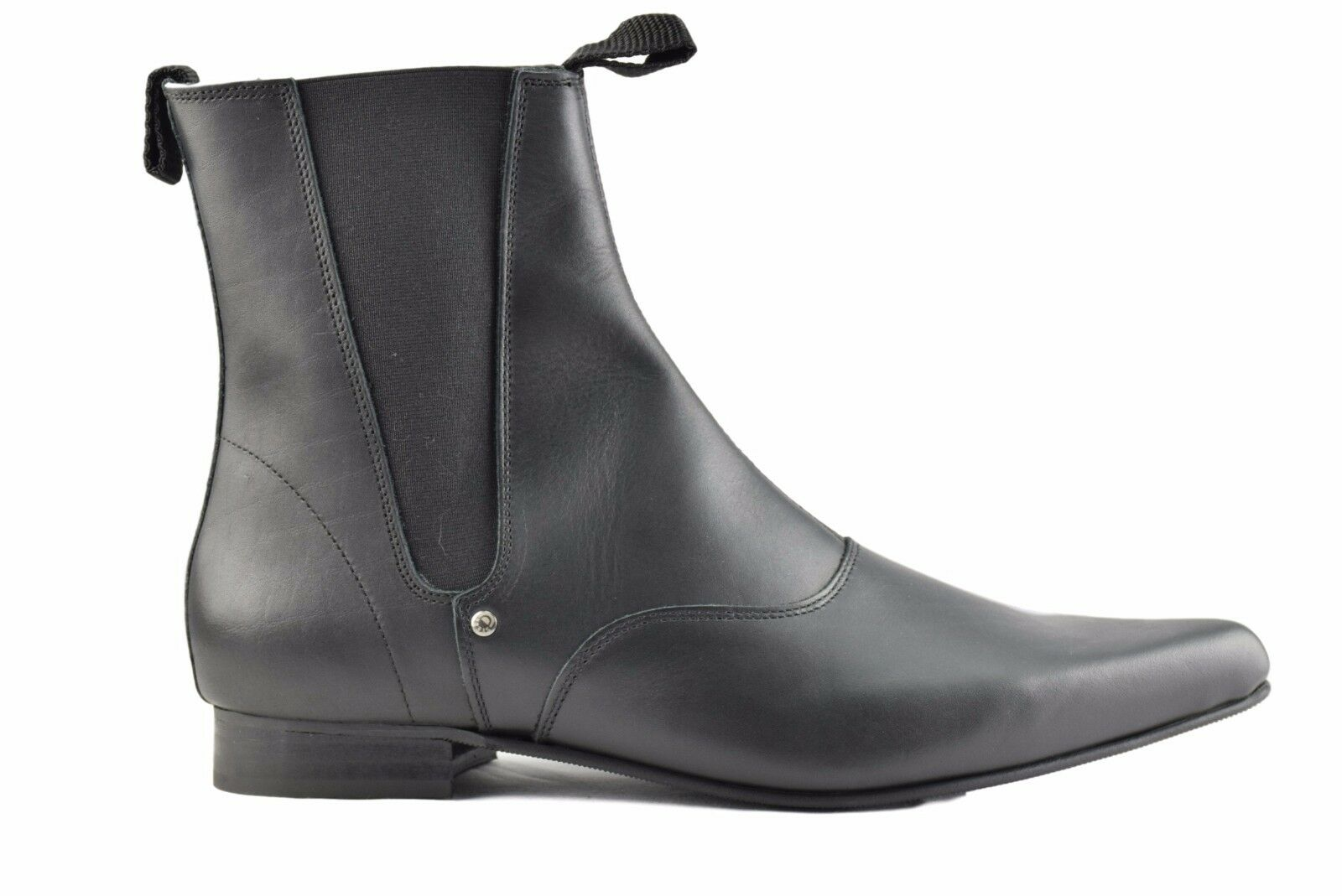 Steel Ground schwarz Leder Chelsea Stiefel Ankle Boot Winklepicker Sb003Z92